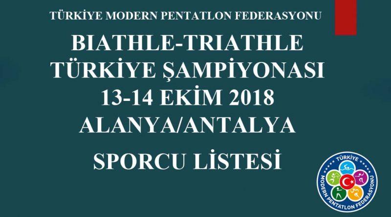 13-14 EKİM 2018 ALANYA/ANTALYA SPORCU LİSTESİ